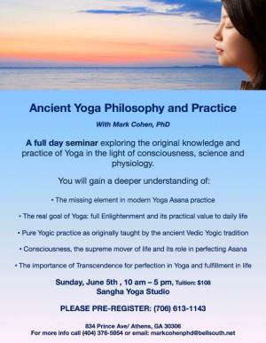 Mark Cohen Yoga Seminar Flyer