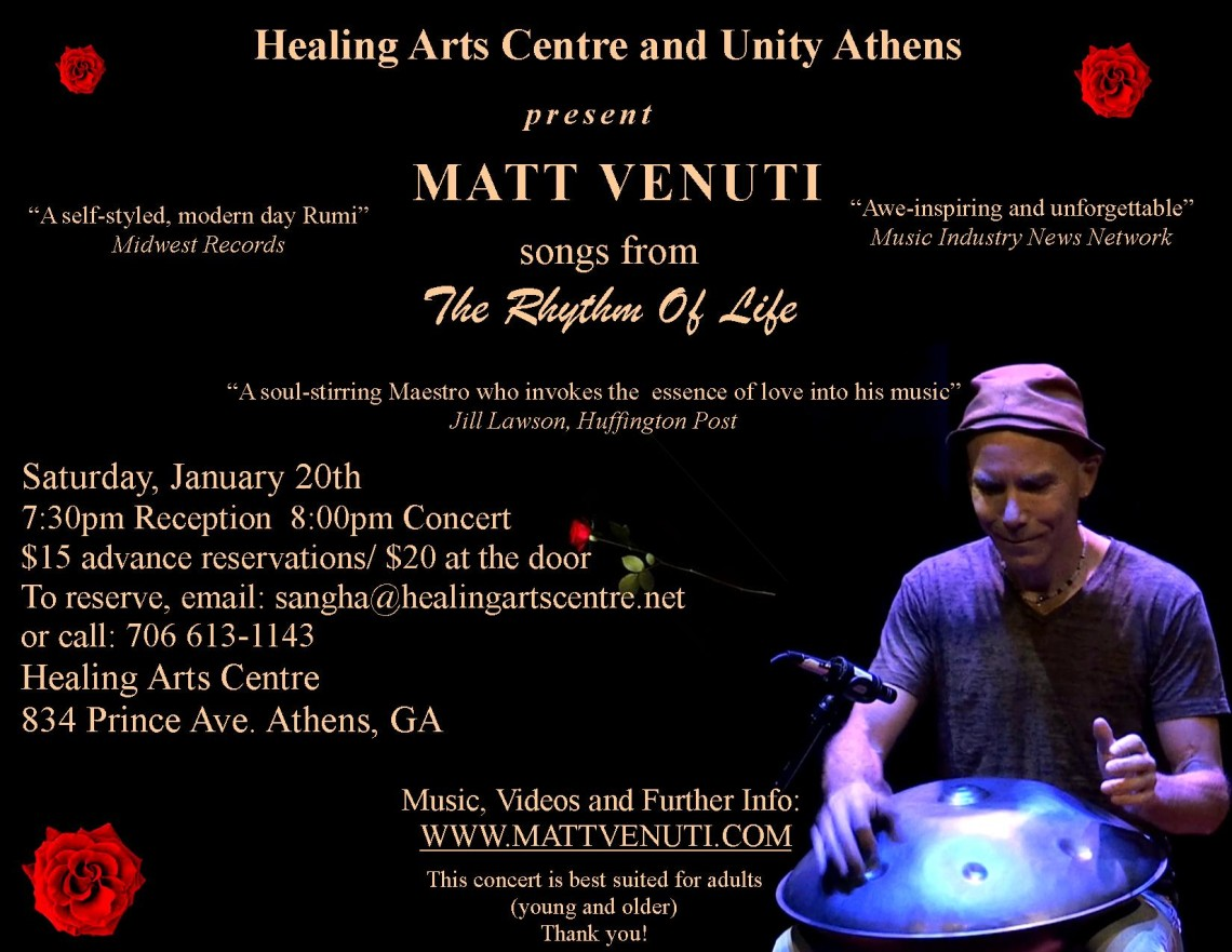 Matt Venuti Concert at Healing Arts Centre in Athens